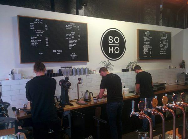 SOHO coffee roastery baristas at work
